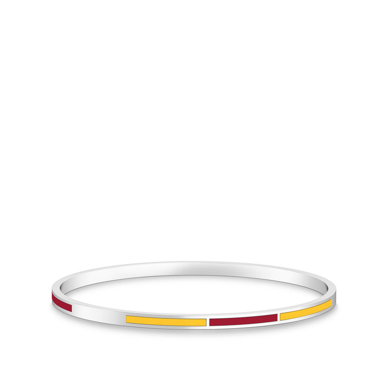 Two-Tone Enamel Bracelet in Red and Yellow Size L