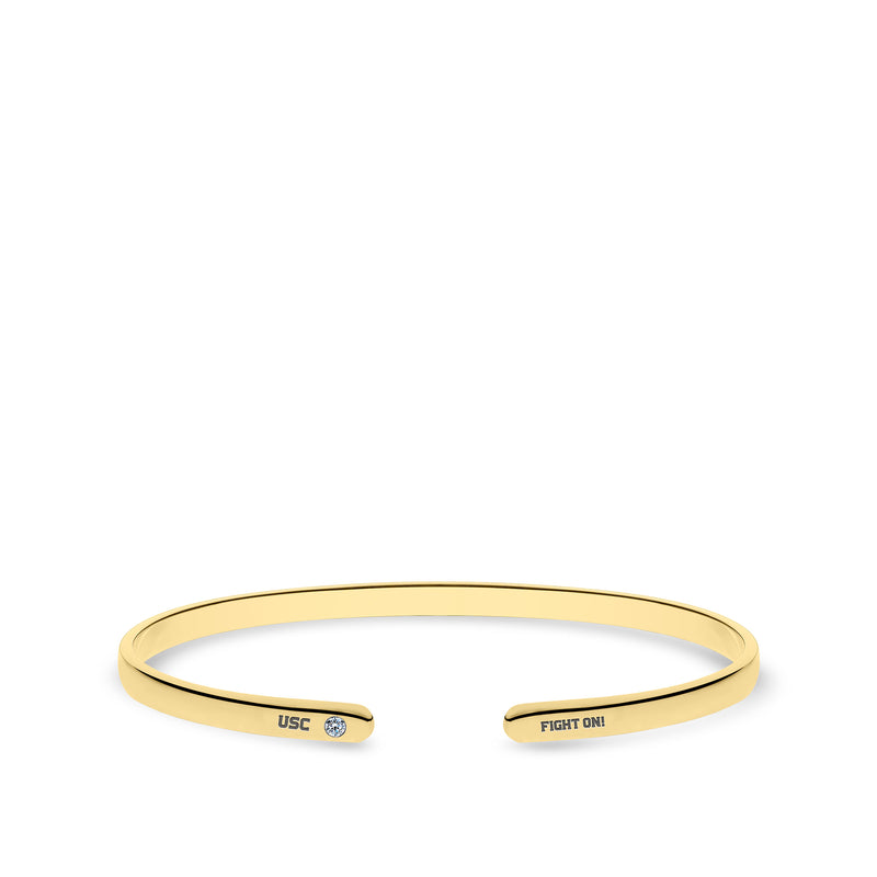 Fight On! Engraved Women's Diamond Cuff Bracelet in 14k Yellow Gold Size L