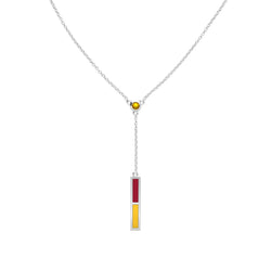 Yellow Sapphire Drop Necklace in Red and Yellow Size 16