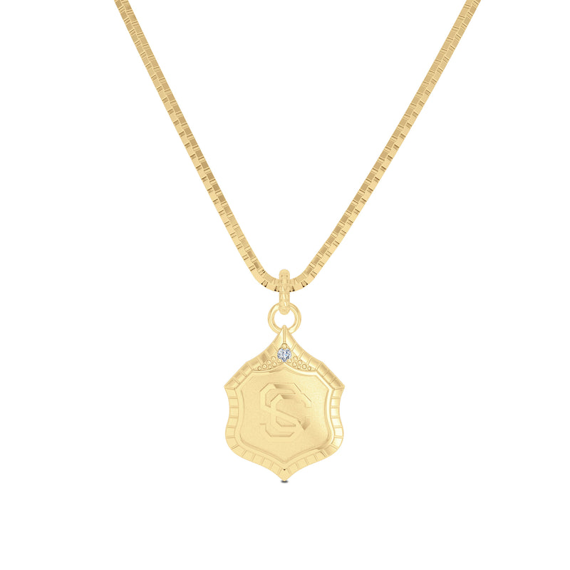USC Vintage Mark Single Diamond Women's Pendant in 14k Yellow Gold Size 16