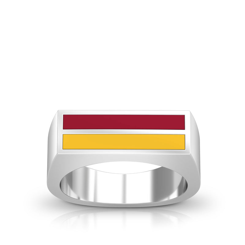 Enamel Ring in Red and Yellow Size 9