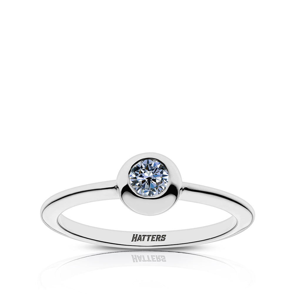 Hatters Engraved White Sapphire Ring Size 8