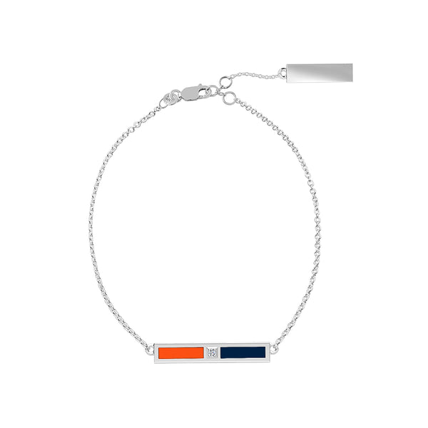 Diamond Bar Bracelet in Dark Orange and Dark Blue
