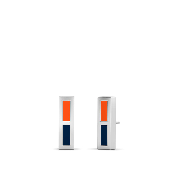 Enamel Stud Earrings in Dark Orange and Dark Blue