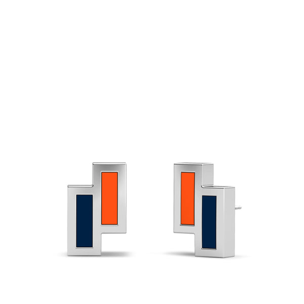 Asymmetric Enamel Stud Earrings in Dark Orange and Dark Blue