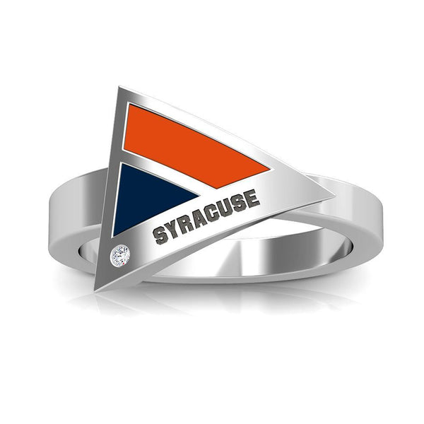 Syracuse Engraved Diamond Geometric Ring in Dark Orange and Dark Blue Size 7