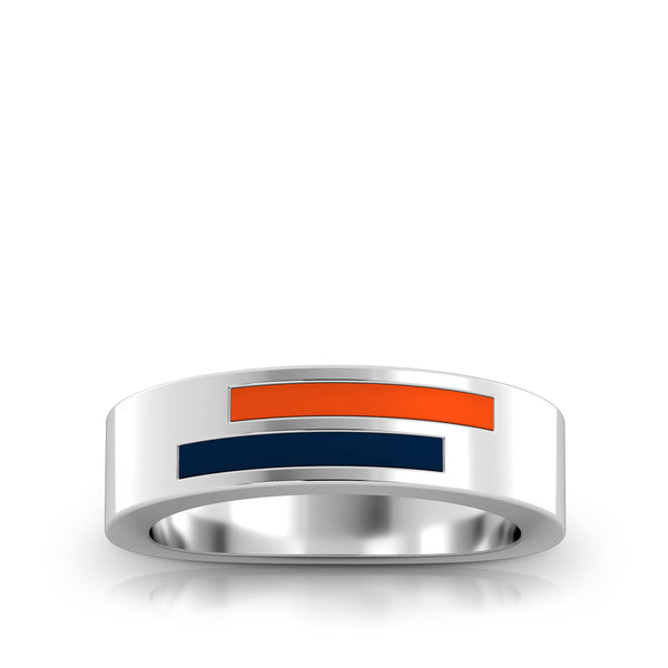 Asymmetric Enamel Ring in Dark Orange and Dark Blue Size 7