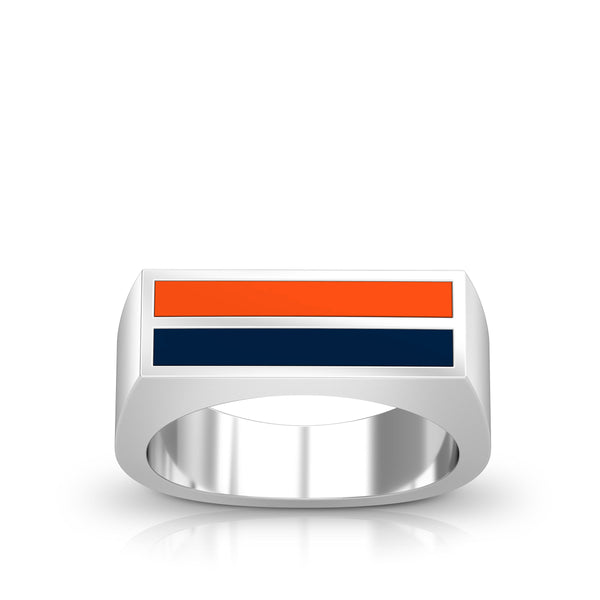 Enamel Ring in Dark Orange and Dark Blue Size 9