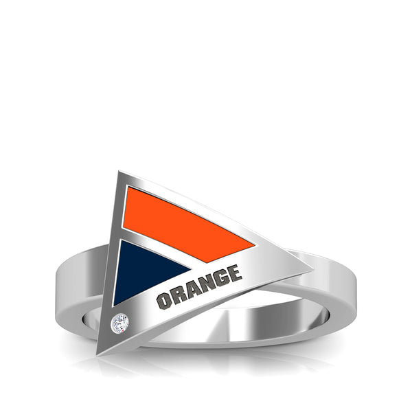 Orange Engraved Diamond Geometric Ring in Dark Orange and Dark Blue Size 7