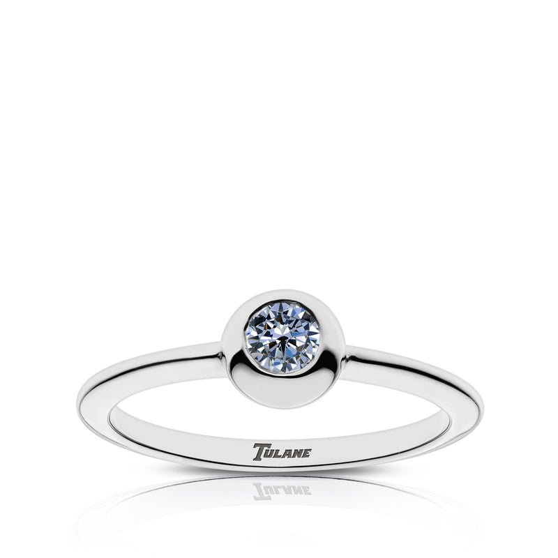 Tulane Engraved White Sapphire Ring Size 9