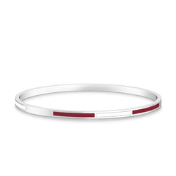 Two-Tone Enamel Bracelet in Maroon and White Size L