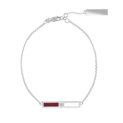 Diamond Bar Bracelet in Maroon and White