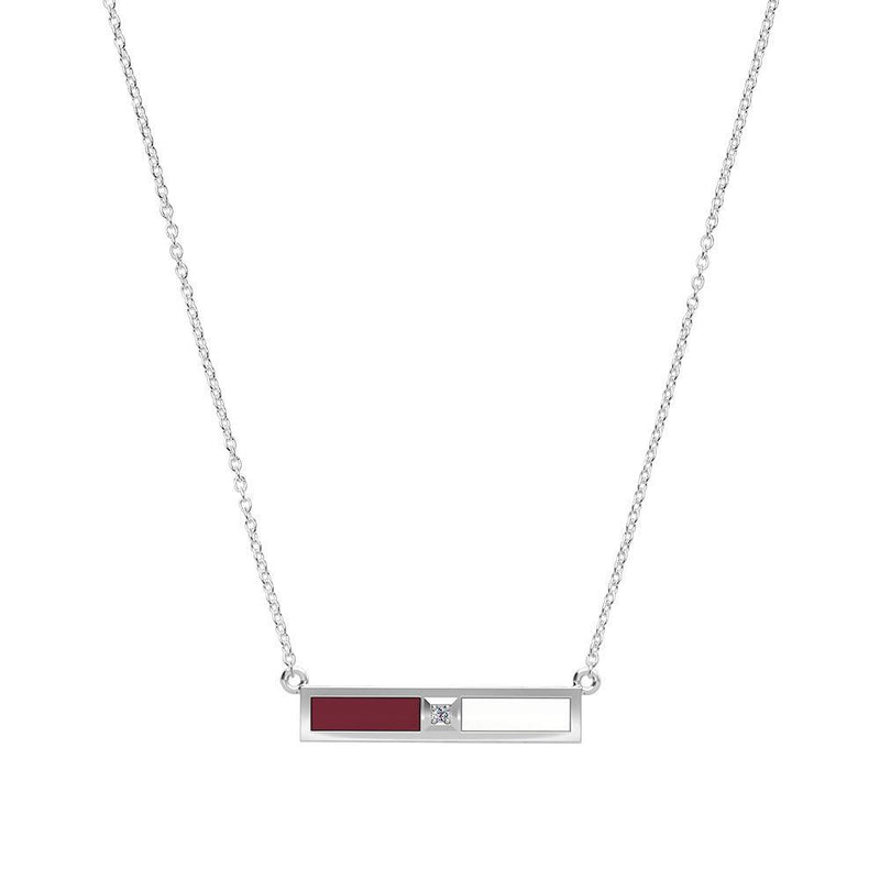 Diamond Bar Necklace in Maroon and White Size 16