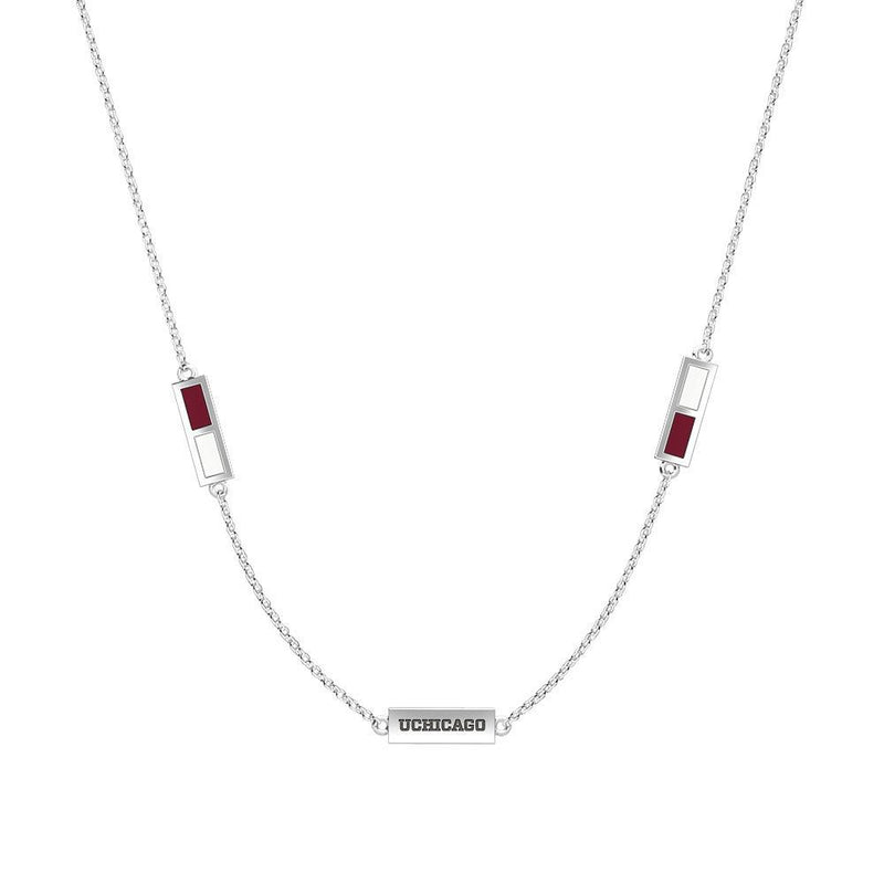 UChicago Engraved Triple Station Necklace in Maroon and White Size 16