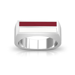 Enamel Ring in Maroon and White Size 8