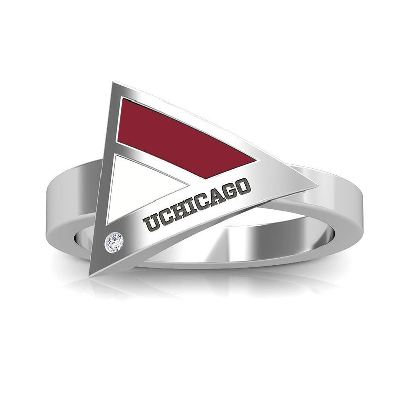 UChicago Engraved Diamond Geometric Ring in Maroon and White Size 7