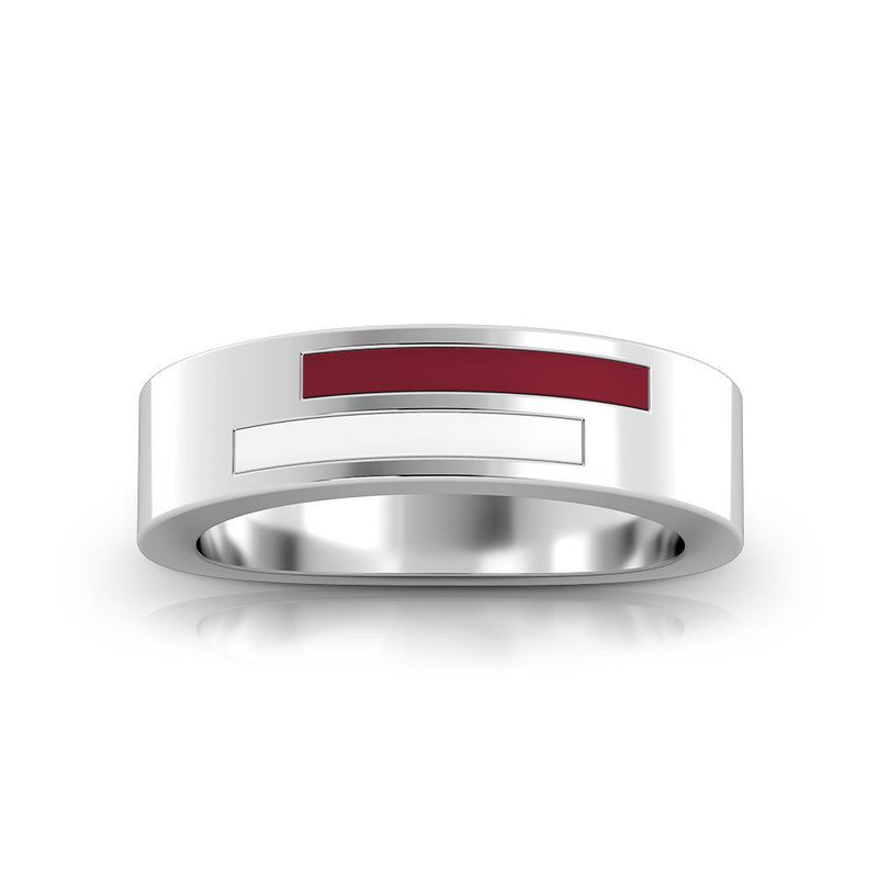 Asymmetric Enamel Ring in Maroon and White Size 8