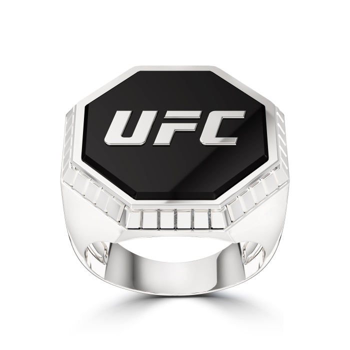 UFC Octagon Diamond Enamel Ring in Sterling Silver Size 10