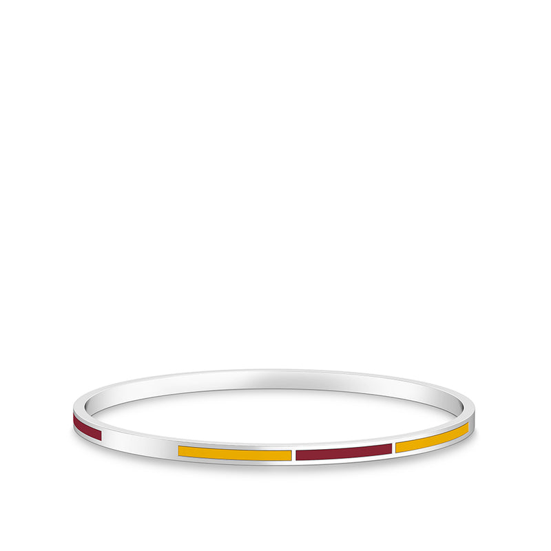 Two-Tone Enamel Bracelet in Dark Red and Yellow Size M