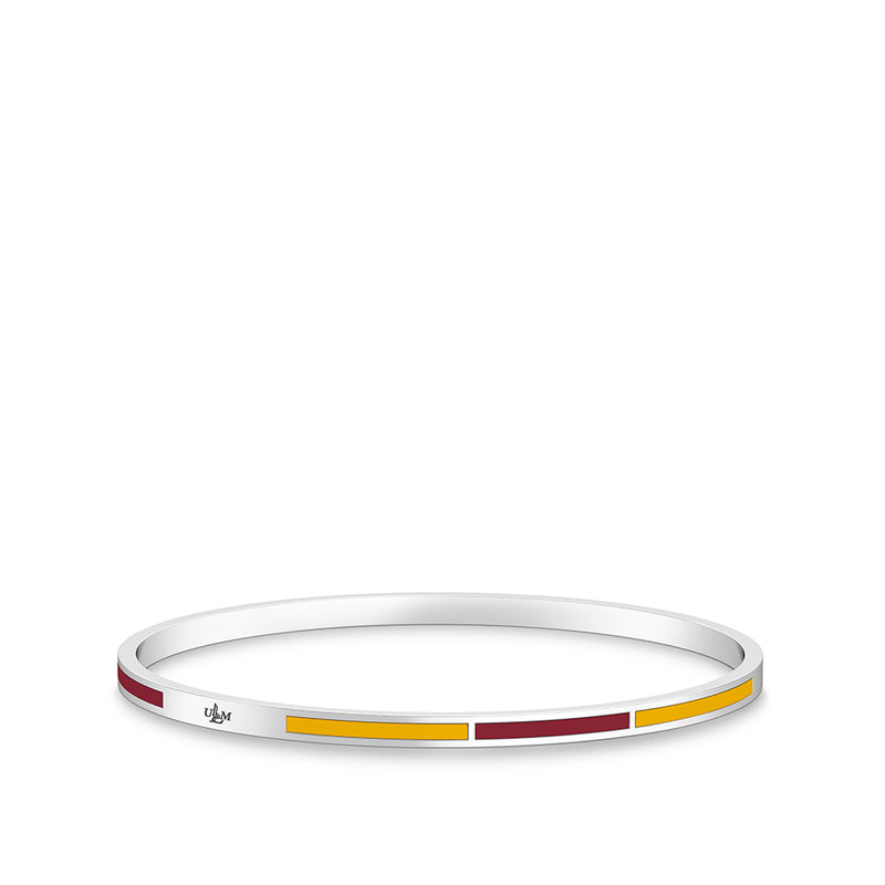 ULM Engraved Two-Tone Enamel Bracelet in Dark Red and Yellow Size S