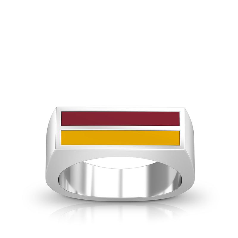 Enamel Ring in Dark Red and Yellow Size 8