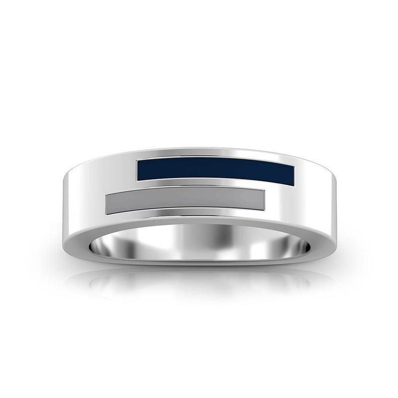 Asymmetric Enamel Ring in Dark Blue and Grey Size 6
