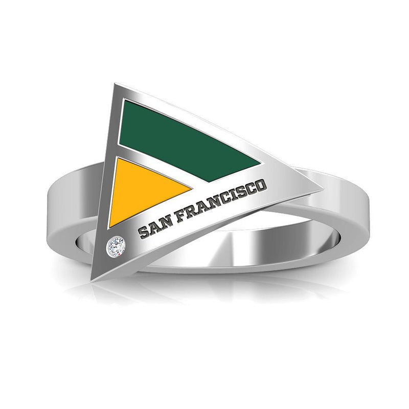 San Francisco Engraved Diamond Geometric Ring in Green and Yellow Size 8