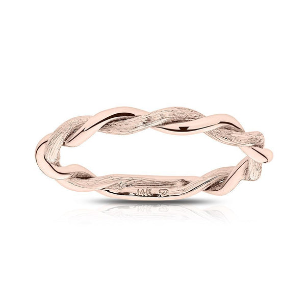 Twisted Hand-Etched Stackable Ring in 14K Rose Gold