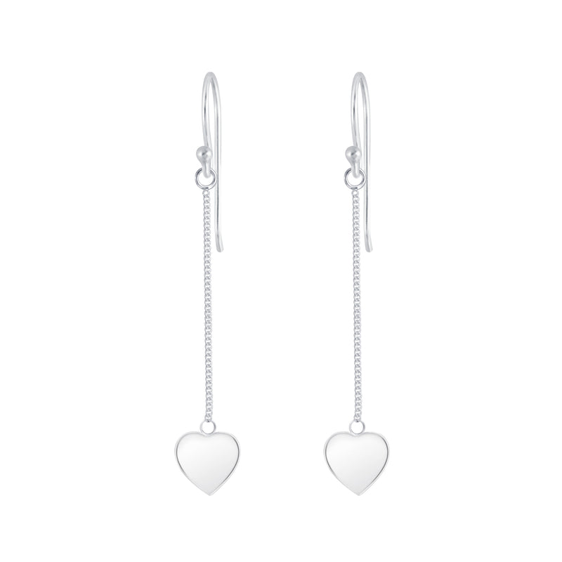 925 Silver Dangling Heart Earrings