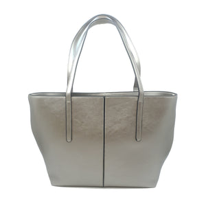 Leather Ladies Tote Bag Handbag Silver
