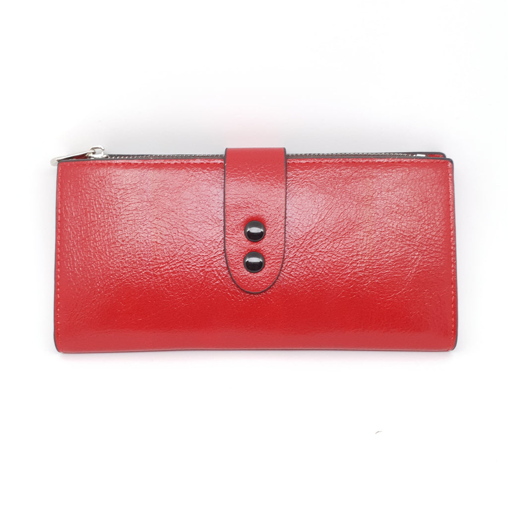 Double Buckle Lovely Ladies Purse Red