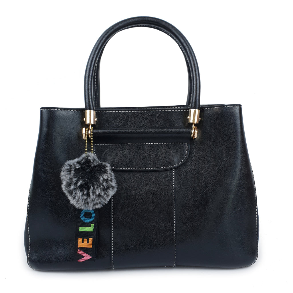 Fashionable Love PU Handbag Black