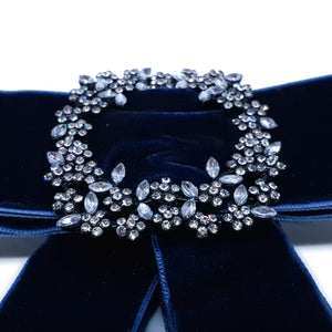 Ladies Simple Trendy Bow Brooch Blue