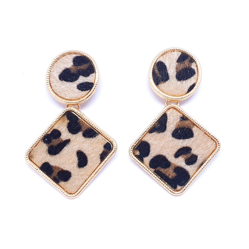 Leopard Earrings Brown