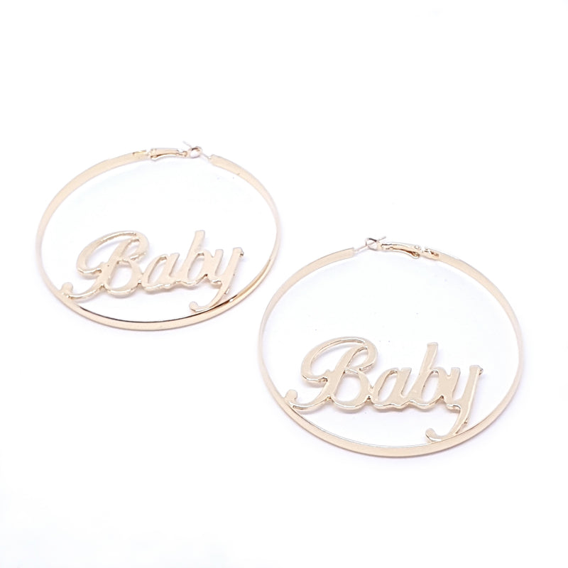 Baby Word Earrings Gold