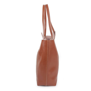 Brown Tote Chic Leather Women Bag