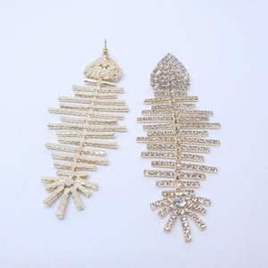 Fish Bone Statement Earrings Gold
