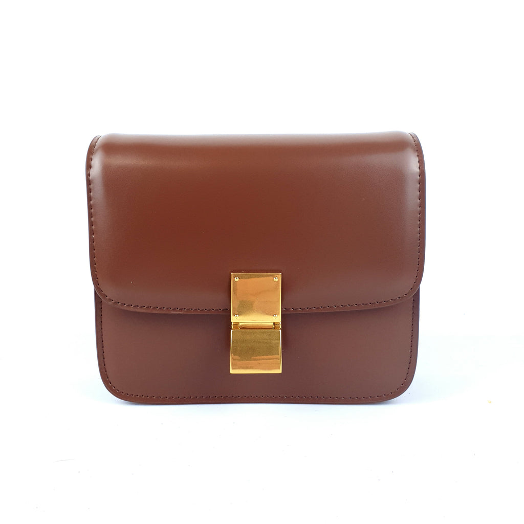 Gold Buckle Retro Leather Party Handbag Crossbody Bag Caramel