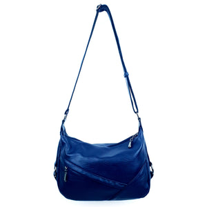 Trendy Side Zip Ladies Shoulder PU Bag Navy Deep Blue