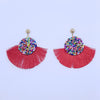 Red Fan Colorful Tassel Earrings