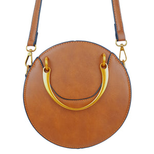 Retro Vintage PU Round Rivet Ladies Bag Brown