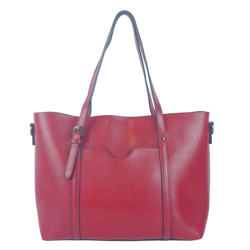 Functional Large Ladies PU Shoulder Crossbody Bag Wine Red