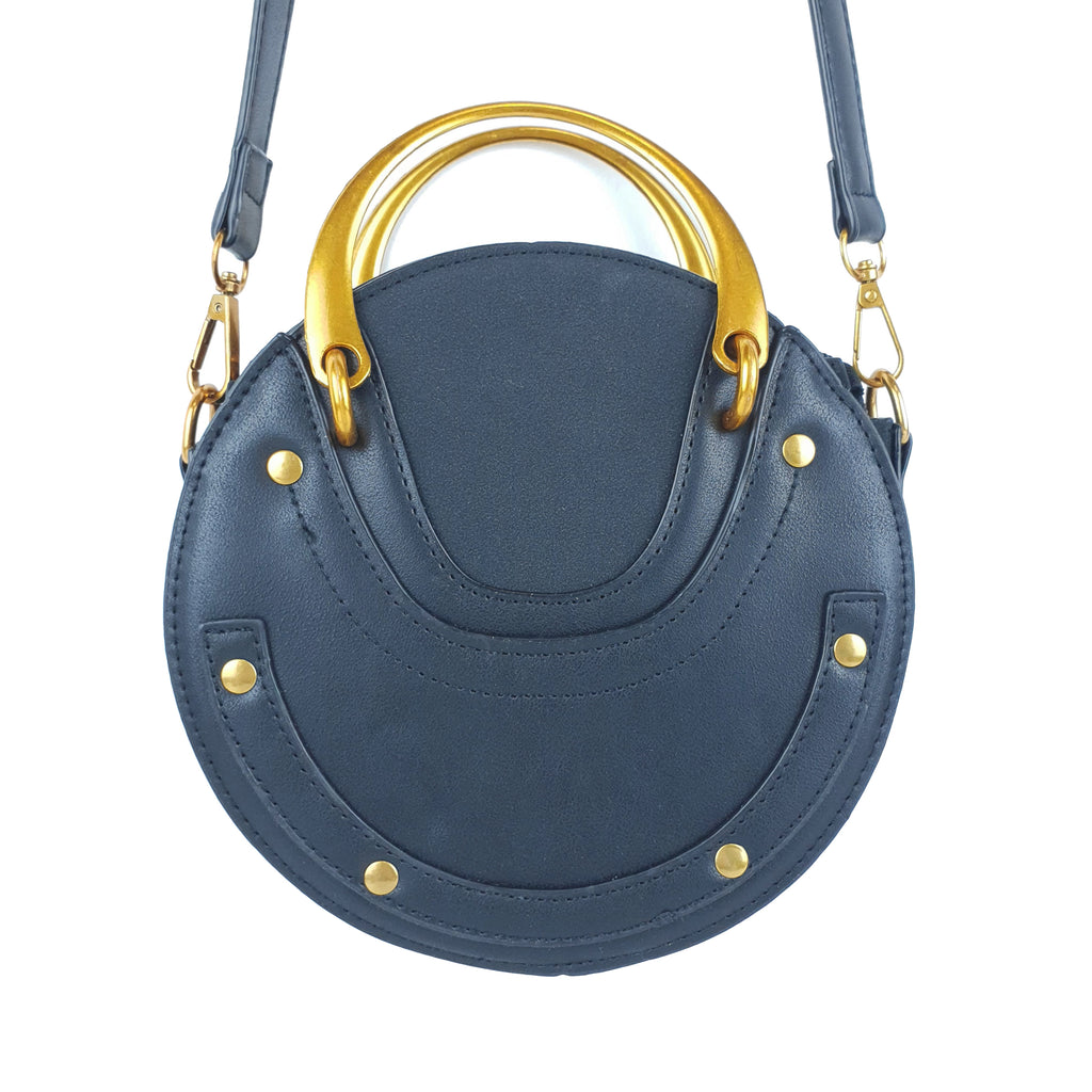 Retro Vintage PU Round Rivet Ladies Bag Black
