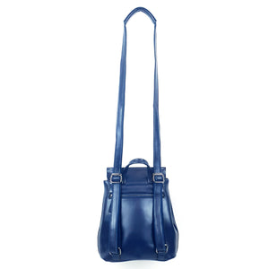 Multifunctional Leather Ladies Backpack Blue