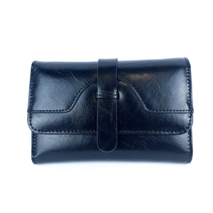 Flap Solid Colour Leather Ladies Small Purse Black