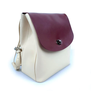 White Red Cow Leather Backpack