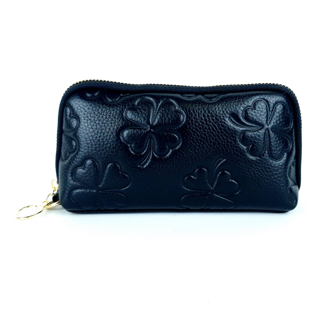 Black Synthetic Faux Leather Clover Clutch Purse
