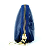 Blue Synthetic Faux Leather Clover Clutch Purse