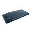 Simple Zip Leather Clutch Purse Black