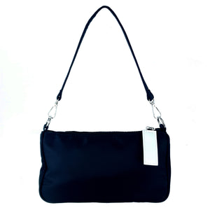 Acrylic Chain Nylon Shoulder Ladies Bag Black